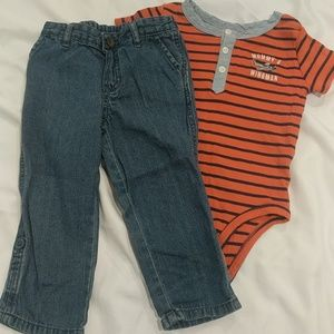 Carter's onesie with jeans set